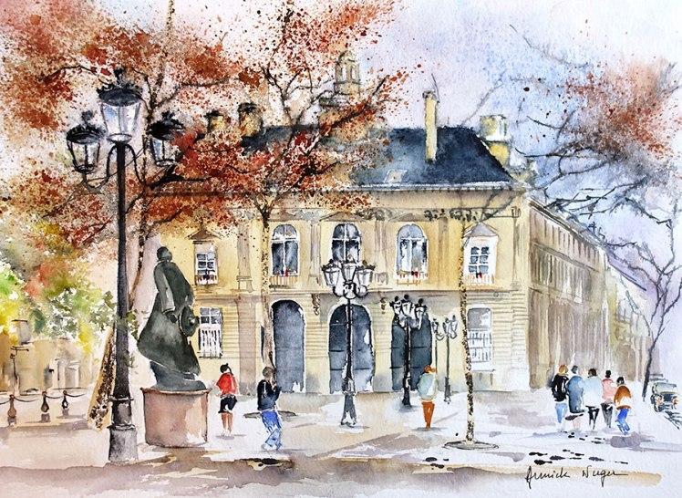 aquarelle Mairie Paris 11e copyright Annick Nuger